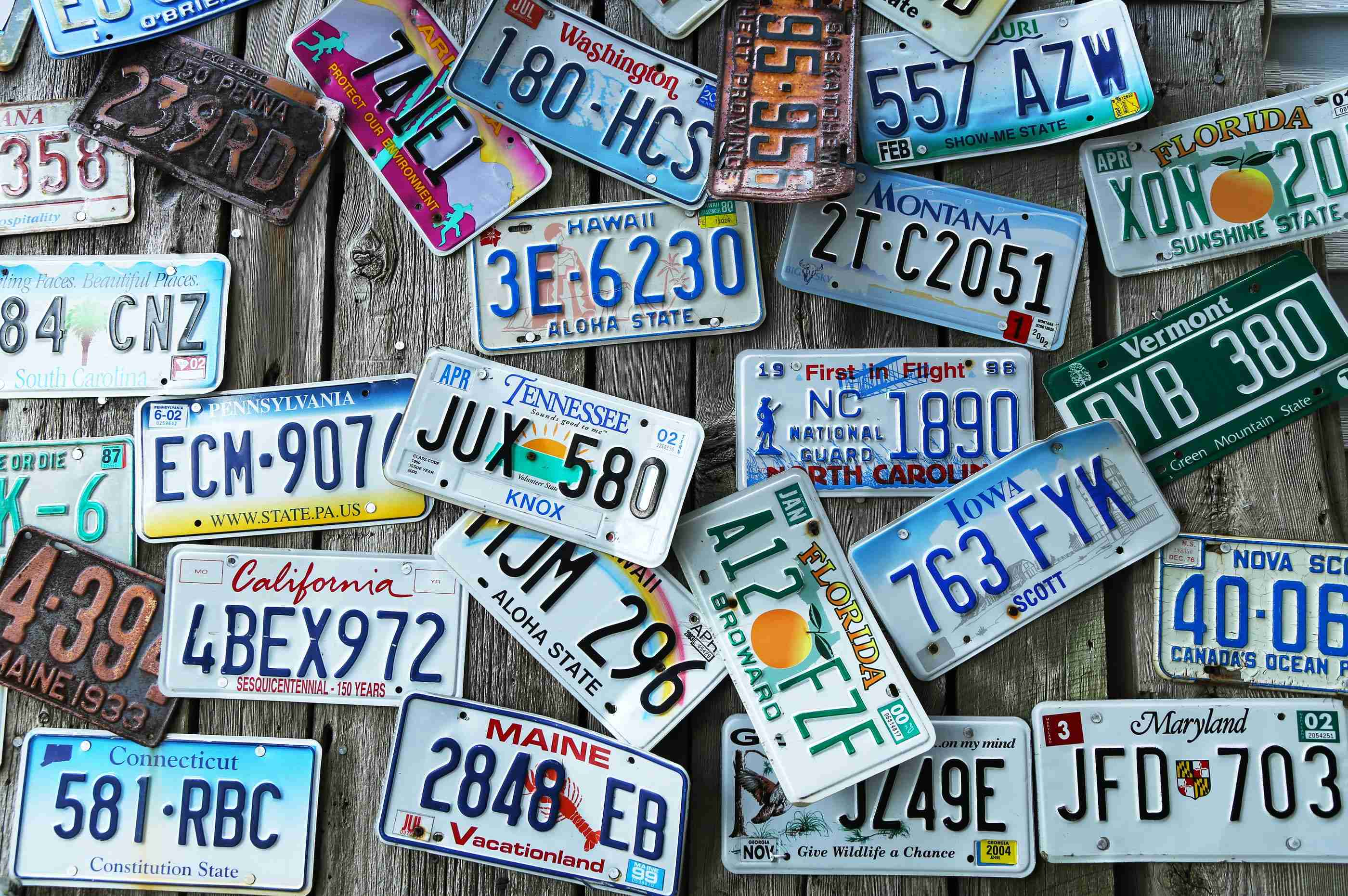 Old car license plates on the wall – 951 The Bull