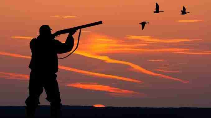 The Silhouette Of A Hunter On Sunset Background