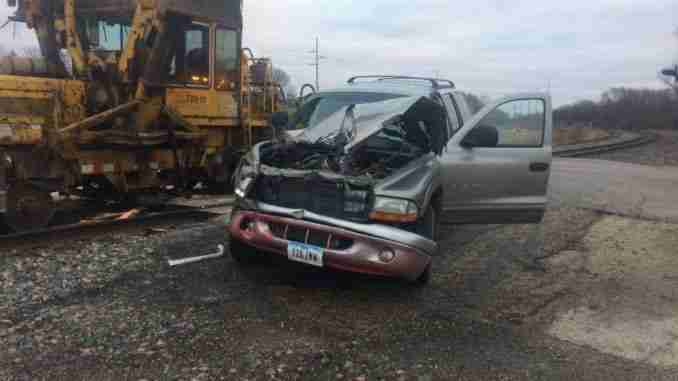 Train and truck crash